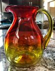 Blenko Amberina Orange yellow  Red Glass Pitcher 7 1 2