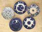 Antique blue and white porcelain plates (collection of five plates)