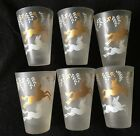 Vintage Art Deco Old Fashioned COCKTAIL Glasses, Set of 6  Frosted GOLD WHITE