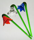 3 Vintage Murano Glass 75 HAND BLOWN LONG STEM FLOWERS Red Clear Blue Bent EX