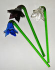 3 Vintage Murano Glass 75 HAND BLOWN LONG STEM FLOWERS Purple Clear Blue Bent