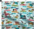 Surf Surf Surfing Dog Summer Beach Tropical Fabric Printed By Spoonflower Bty
