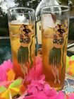 Vintage cocktail glasses: set of hula girl tall cocktail glasses