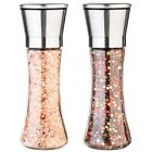 Salt and Pepper Grinder Set of 2 Glass Body Brushed Steel Ceramic Mills