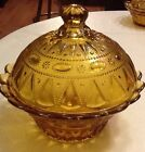 WHEATON AMBER GLASS CANDY DISH, FLORAL GLASS BOWL W/SCALLOPED RIM~MINT CONDITION