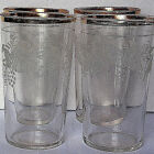 Highball Glasses 9 Embossed Grapes and Vine with Gold Rim 4 3/4