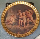 """ Round Hand Painted Cherubs Tray Italy"