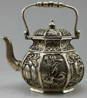 Collectible Old Silver Copper Handwork Carved Flower Bird Fish Fruit Teapot