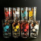 Mid Century Modern Federal Glass Atomic Dots Tumblers  Set of 8