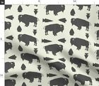 Buffalo Bison Animals Tribal Gray Cream Native Fabric Printed by Spoonflower BTY