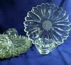 Vintage HAZEL ATLAS Clear DAISY Snack Plates and Cups (8 pieces) Set of 4    B