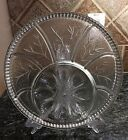 Vintage Indiana Clear Glass Relish Deviled Egg Platter Pebble Leaf Tree of Life