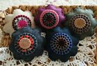 Five Handcrafted Penny Rug Flower Ornie's Bowl Filler's