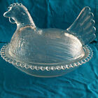 Vintage Indiana Glass Clear Hen on Nest