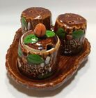 Vintage New Mexico Souvenir Salt Pepper Shakers Condiment Jar Tray Indian Chief
