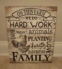 Family Farm Wisdom SIGN*Primitive/French Country Farmhouse/Rooster/Chicken Decor