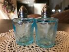 Vintage I W Rice  Co Crackle Glass Ocean Blue Salt  pepper shakers Japan