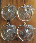 Vintage Apple Blossom  4 Breakfast / Lunch Plates and  4 Cups , Clear Embossed F
