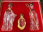 Gorham Crystal 3 Piece Nativity Figurine Set Christmas 24K Gold Plated Germany