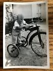 Vintage Photograph Baby and Tricycle Black And White Wallet Size