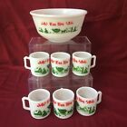 Hazel Atlas milk glass egg nog Christmas bowl w/ 6 mugs