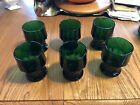 (6) Vintage Emerald Green Anchor Hocking Drinking Glasses 4.25