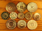 11 Medium Antique Fancy Carved Pearl Buttons