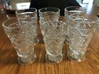 Vintage Set Of 6 Diamond Cut Clear Art Glass Footed Drinking Glass 5.75