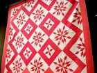 Antique Victorian Vtg Early 1900's 1910'S Twinkle Star QUILT Double pink 1890'S