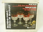 INDIANA GLASS DIAMOND POINT RUBY BAND 4 WINE/JUICE 6OZ SET GOBLETS NOS IN BOX