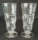 Vintage Tall Soda Fountain Parfait Glasses Pair 8 Inch