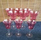 Victorian Cranberry Flashed Glass 6 Optic Wine Glasses 3 Cordial Glasses