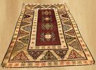 Distressed Hand Knotted Vintage Turkish Wool Area Rug 5 x 3 Ft (6655)