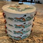 Beautiful Antique Chinese Porcelain Stacking Boxes in Famille Rose Decoration