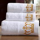 3/pcs Embroidered Crown Towel White Hotel Luxury Bath Cotton Adult Towels