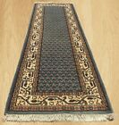 Hand Knotted Vintage Indo Persian Mir Badami Wool Area Runner 7.8 x 2.5 Ft