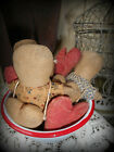 VERY PRIM AGED PRIM LITTLE DOLLS AND HEARTS IN A RED AND WHITE BOWL~~PFATT~