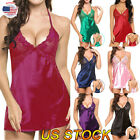 Sexy Lingerie Womens Satin Mini Dresses Babydoll Nightdress Nightgown Sleepwear