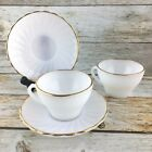 2 FIRE KING ANCHOR HOCKING Swirl Shell Milk Glass Gold Trim  Cups