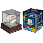 ULTRA PRO PREMIUM GLASS with REAL CHERRY WOOD BASEBALL Display Case Ball Holder