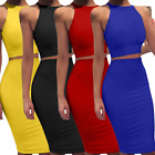 Sexy Women's Sleeveless Bodycon Crop Top +Skirt Set Party Clubwear Vest Dresses