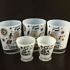 Vintage Signed Georges Briard Frosted White Tumbler Glasses Barware Set