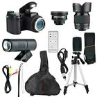 33MP HD D7300 Camcorder Camera Wide Angle Lens + 24X Telephoto Lens/LED/Tripod H
