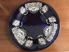 Cobalt Blue Glass Dinner Plates With Silver Overlay, Set Of 12
