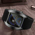 Men's Unique Turbo Dial Flash LED Band Watch Gift Sports Car Meter Wrist Watches