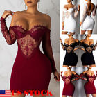 US Sexy Women Ladies Long sleeve backless bodycon club party cocktail dress S-XL
