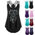 Women Bandages Sleeveless Vest Top High Low Tank Top Notes Multicolor Tank Tops