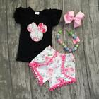 USA Kid Baby Girl Minnie Mouse Clothes T shirt Tops +Pants Shorts Outfit Set