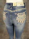 Womens GRACE IN LA Easy Fit Boot Cut Jeans Embroidery Native Feathers