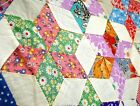 Vintage 1930s Four point star Quilt Top Hand stitched